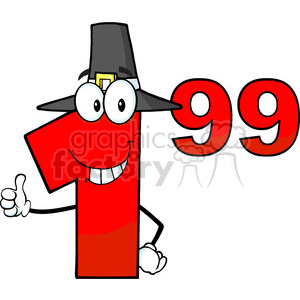 Royalty Free Clip Art Price Tag Red Number 1.99 With Pilgrim Hat Cartoon Mascot Character Giving A Thumb Up