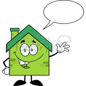 6477 Royalty Free Clip Art Green Eco House Cartoon Character Waving For Greeting With Speech Bubble clipart. Commercial use image # 389661