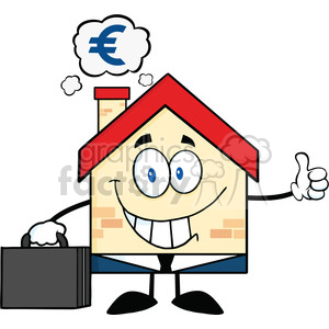 6449 Royalty Free Clip Art Smiling House Businessman Carrying A Briefcase,Giving A Thumb Up With Smoke Cloud And Euro Sign clipart. Royalty-free image # 389671