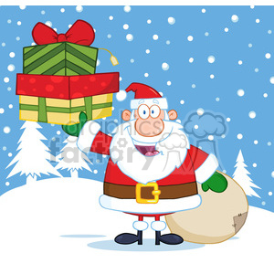 6671 Royalty Free Clip Art Smiling Santa Claus Holding Up A Stack Of Gifts clipart. Royalty-free image # 389711