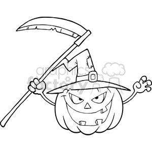 6635 Royalty Free Clip Art Back And White Scaring Halloween Pumpkin With A Witch Hat And Scythe Cartoon Illustration clipart. Commercial use image # 389721