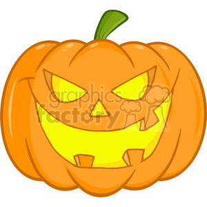 6608 Royalty Free Clip Art Scary Halloween Pumpkin Cartoon Illustration clipart. Commercial use image # 389731