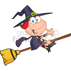 6630 Royalty Free Clip Art Halloween Little Witch Cartoon Character Waving For Greeting clipart. Commercial use image # 389741