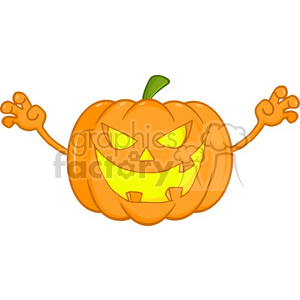 6613 Royalty Free Clip Art Scaring Halloween Pumpkin Cartoon Illustration clipart. Royalty-free image # 389761