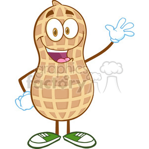 6597 Royalty Free Clip Art Happy Peanut Cartoon Mascot Character Waving For Greeting clipart. Commercial use image # 389771