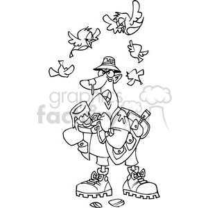 photographer getting pooped on by birds black white clipart. Commercial use image # 389819