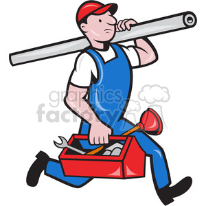 plumber tube toolbox running clipart. Royalty-free image # 389924