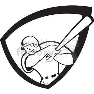 baseball batter batting front 2 black white clipart. Royalty-free image # 389934