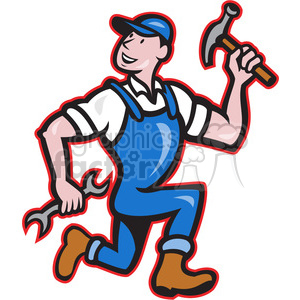 builder run hammer spanner side clipart. Royalty-free image # 389954