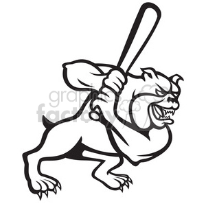 baseball bulldog player batting black white clipart. Royalty-free image # 389994