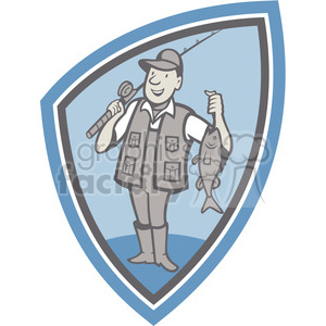fisherman catch bass fishing rod clipart. Royalty-free image # 390010