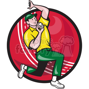 cricket bowler bowling side BALL clipart. Royalty-free image # 390020