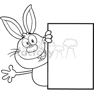 Royalty Free RF Clipart Illustration Black And White Cute Rabbit Cartoon Character Looking Around A Blank Sign And Waving clipart. Commercial use image # 390100