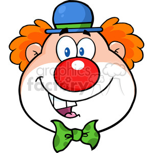 Royalty Free RF Clipart Illustration Funny Clown Head Cartoon Character clipart. Commercial use image # 390190