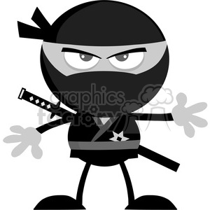 royalty free rf clipart illustration angry ninja warrior cartoon character flat design in gray color