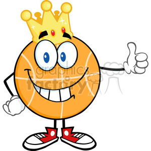 Royalty Free RF Clipart Illustration Smiling Basketball With Golden Crown Giving A Thumb Up clipart. Commercial use image # 390220