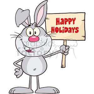 Royalty Free RF Clipart Illustration Funny Gray Rabbit Cartoon Character Holding A Wooden Board With Text clipart. Commercial use image # 390230