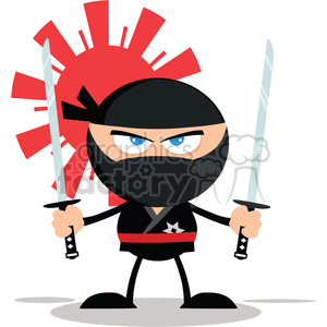 Angry Ninja Warrior With Two Katana Flat Design clipart. Royalty-free image # 390240