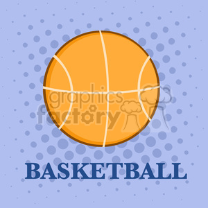 Royalty Free RF Clipart Illustration Abstract Basketball Over A Purple Background With Text Flat Design clipart. Royalty-free image # 390250