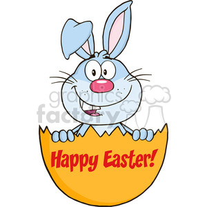 Royalty Free RF Clipart Illustration Surprise Blue Rabbit Peeking Out Of An Easter Egg With Text clipart. Royalty-free image # 390260