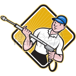 man with a pressure washer clipart. Commercial use image # 390372