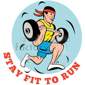 weightlifer running stay fit clipart. Royalty-free image # 390412