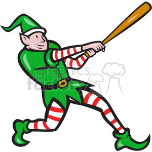 elf baseball batting side clipart. Commercial use image # 390476
