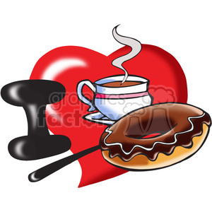 I love coffee and doughnuts clipart. Commercial use image # 390724