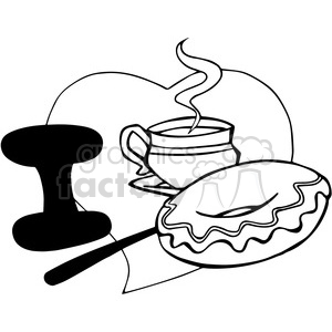 I love coffee and doughnuts outline clipart. Royalty-free image # 390744