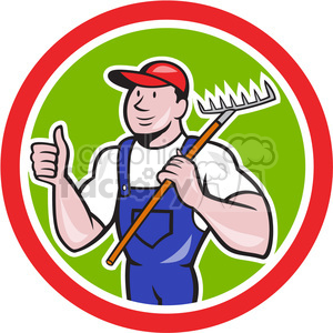 gardener holding rake with thumbs up clipart. Commercial use image # 391368