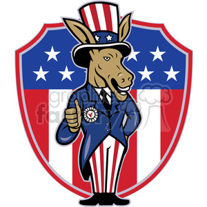 political donkey democrat thumb up shield logo clipart. Commercial use image # 391388