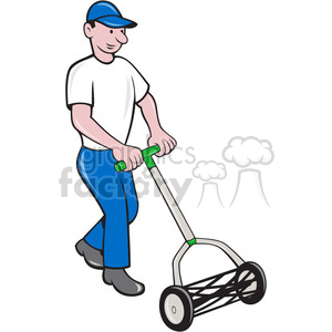 gardener cutting grass clipart. Commercial use image # 391398