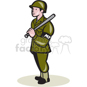 military police holding baton