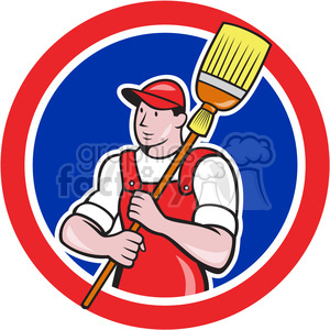 cleaner janitor holding broom clipart. Royalty-free image # 391428