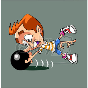 cartoon man bowling with fingers stuck in ball clipart. Royalty-free image # 391501