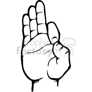 sign language letter F clipart. Royalty-free image # 167494
