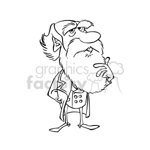 Charles Darwin bw cartoon caricature clipart. Royalty-free image # 391684