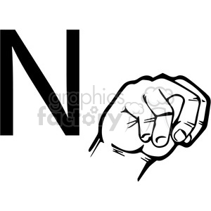 sign+language education letters hand black+white alphabet n