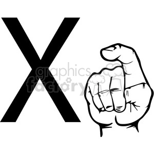 ASL sign language X clipart illustration worksheet clipart. Royalty-free image # 392306