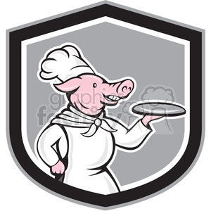 pig chef holding dish in shield shape clipart. Royalty-free image # 392326