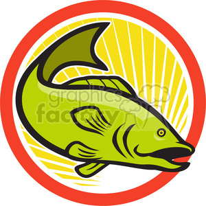 large mouth bass jump side in circle shape clipart. Royalty-free image # 392346