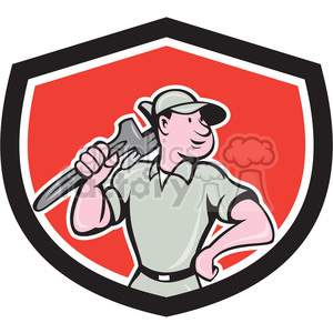 buff plumber in shield shape clipart. Royalty-free image # 392386