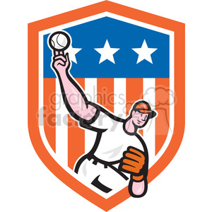 pitcher throw ball frnt exagg in shield shape clipart. Commercial use image # 392426
