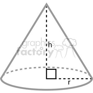 geometry cone math radius height clip art graphics images