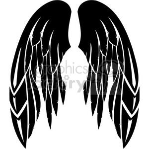 clipart - vinyl ready vector wing tattoo design 065.
