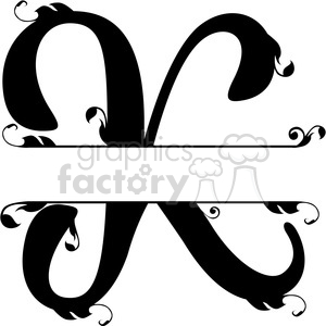 split regal k monogram vector design clipart. Royalty-free image # 392840