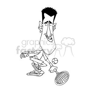 novak djocovic black white clipart. Royalty-free image # 393012