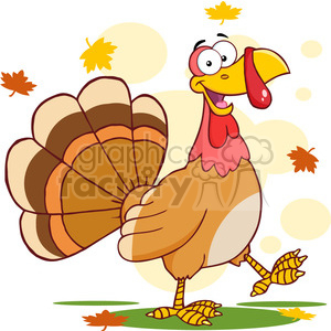 6847_Royalty_Free_Clip_Art_Happy_Turkey_Cartoon_Mascot_Character_Walking clipart. Royalty-free image # 393067