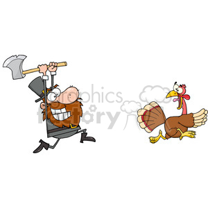 Angry Pilgrim Chasing With Axe A Turkey clipart. Commercial use image # 393087