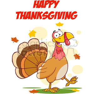 Happy Thanksgiving Greeting With Turkey Walking clipart. Commercial use image # 393097
